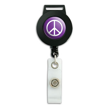 Rounded Peace Sign Symbol Purple Retractable Badge Card ID Holder