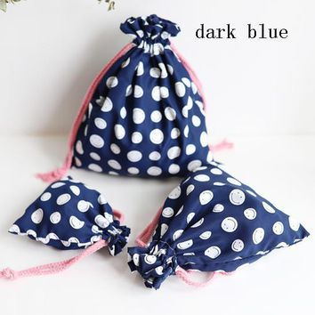 New Fashion Storage Bags Eco Bag Drawstring Bags Dark blue