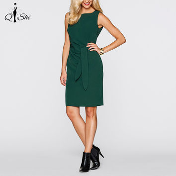 2016 Women Casual Dress Sashes Vintage Elegant Slim Pinup Wear To Work Office Fitted Dresses Plus Size Women Clothing