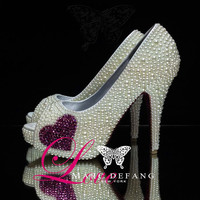 Luxury Ivory pearl with Rose crystals hearts/soles, Bridal peep Toe heels