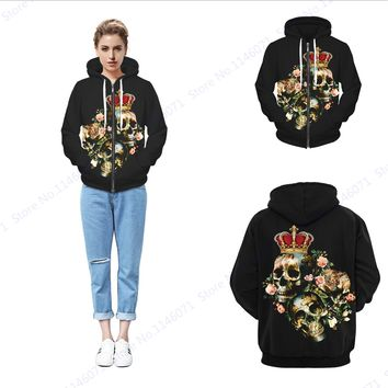 Tribal Crown Skeleton King Zipper Hoodie Vintage Black Halloween Skateboard Sweatshirts Winter Fleece Thicken Hoody Jacket Women