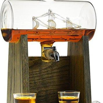 Liquor Decanter – Scotch Whiskey Decanter - 1150ml Dispenser for Alcohol)