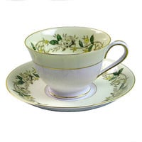 Vintage Bone China Teacups and Saucers Noritake Cup Saucer Set, #5020, White Rose, Ivy Vine, Circa 1940