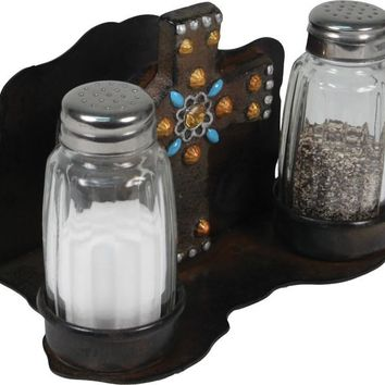 Salt & Pepper Shaker Set - Metal Cross with Napkin Holder