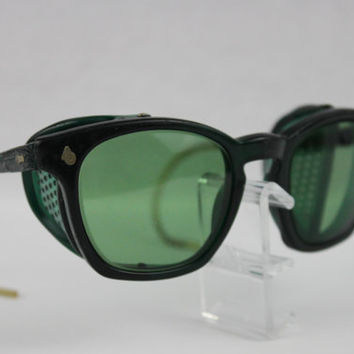 Vintage Pair of 1950s Green American Optical Safety Glasses, AO Safety Glasses, Sunglasses