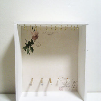 Wall Mount or Free Standing White Rose Jewelry Cabinet by Ayliss
