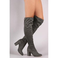 Vegan Suede Chunky Heeled Boots
