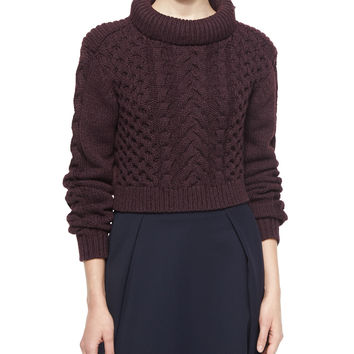 Cropped Cable-Knit Pullover Sweater, Burgundy, Size: