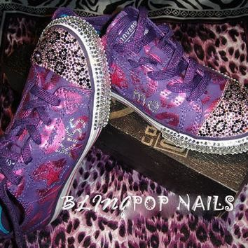 bling kiss me converse all star shoes with swarovski crystal size us 4 uk 3 5 cm 22