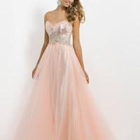 Sweetheart Crystal Beaded Netted Blush Prom Dress 9757
