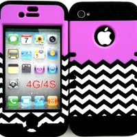 Bumper Case for Apple iphone 4 4G 4S Purple Blocks with Chevron Waves hard plastic snap on over Black Silicone Gel