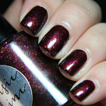 Nail Polish: Vampires Suck - Dark Maroon Polish with Red and Fuschia Glitters