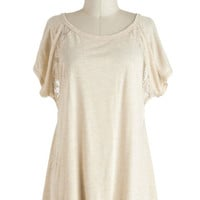 Mid-length Short Sleeves Breakfast in Bed-Stuy Top in Oatmeal
