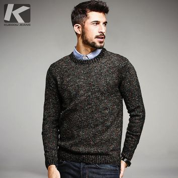KUEGOU Autumn Mens Fashion Sweaters Knitted Colorful Brand Clothing For Man Slim Fit Pullovers Male Wear Knitwear Clothes 15810