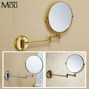 "Bathroom mirror copper frame round mirror wall mount 8"" double face foldable arm makeup mirrors espelho bath 3 x magnification"