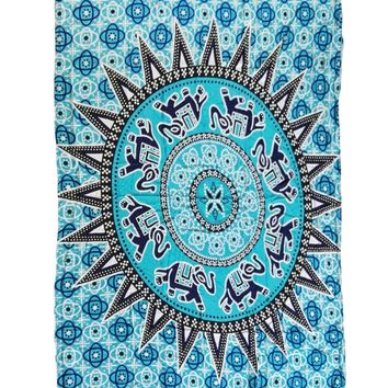 Chicloth Bluish Medallion Pattern Tapestry Cotton Yoga Mat