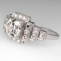 1940's Vintage 1 Carat Transitional Cut Diamond Ring