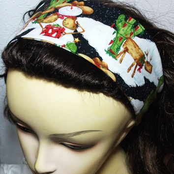 Reversible Fabric Headband Wrap Around Southwestern Christmas Scene Cowboy Snowmen Log Reindeer Christmas Cactus Hair Wear Women Teens