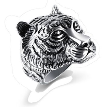 Mens Stainless Steel Tiger Ring
