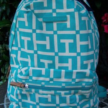 TOMMY HILFIGER Logo Aqua Backpack Tablet School Book Bag NEW