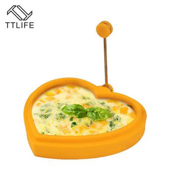 TTLIFE Egg Mold Silicone Flower Round Heart Star Pancake Eggs Mold For Kid Breakfast Essential Fried Egg Mould