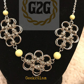 Stainless steel chainmail chainmaille flower necklace with yellow green plastic beads