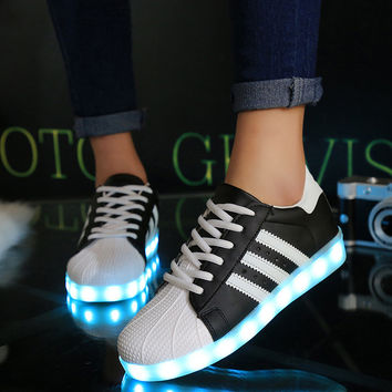 Korean LED Lightning Flat Casual Fashion Noctilucent Shoes [4964953604]