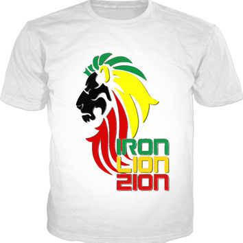 Iron, Lion, Zion, reggae music themed classic white t-shirt, rastafarian style vector design