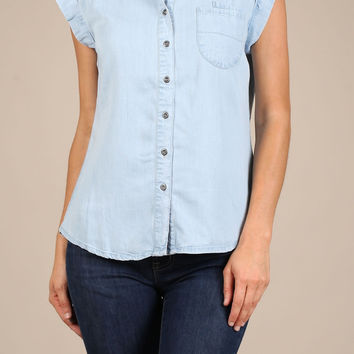 Denim Short Sleeve Collared Capped Button Down CJ70212G20