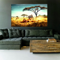 Canvas Print Stretched Gallery Wrapped Wall Art Painting Savannah Africa Lion Zebra Horse Modern Large Size 28x44""