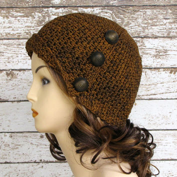 Brown Crocheted Cloche Hat, Merino Winter Hat