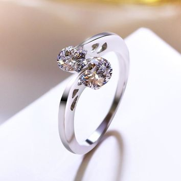 Fashion White Gold Color Wedding Rings Twin Round AAA Cubic Zirconia Crystal Jewelry For Women Anel Feminino