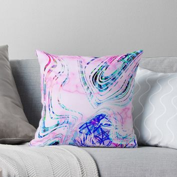 'Colorful Fun and Vibrant Marble Summer Pattern' Throw Pillow by oursunnycdays