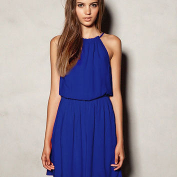 Blue Halterneck Sleeveless Sheer Pleated Dress