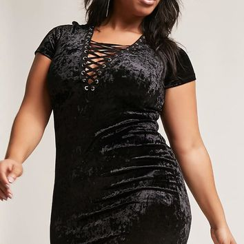Plus Size Crushed Velvet Lace-Up Dress