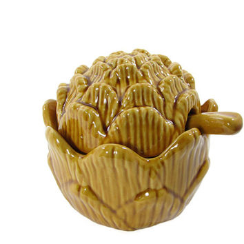 Olfaire Majolica Art Pottery Golden Artichoke Lidded Condiment Tureen Made in Portugal Portuguese