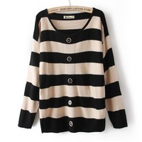 Buy Sweet Style Button Stripe Sweater Khaki with cheapest price|wholesale-dress.net