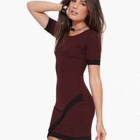 Asymmetric Wrap Bodycon Dress with Black Trim
