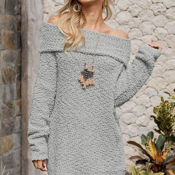 Fashion Gray Off The Shoulder Comfy Sweater