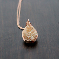Apricot Druzy Teardrop Necklace - Gold