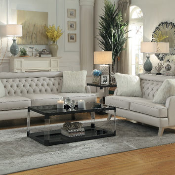 Home Elegance HE-8246GY-2pc 2 pc Nevaun light gray airehyde leather sofa and love seat set with tufted backs (CLONE)