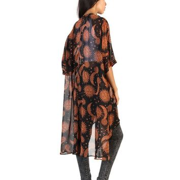 2017 Hot Sale Casual Women Brown Sun and moon Print long Chiffon Loose Shawl Kimono irregular length Cardigan Top Cover up Shirt