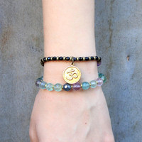 Cleansing and Soothing, Fluorite and Onyx 27 bead wrap mala bracelet™