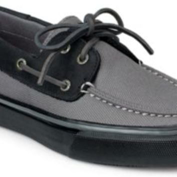 Sperry Top-Sider Bahama Heavy Canvas 2-Eye Boat Shoe Gray/Black, Size 8.5M  Men's Shoes