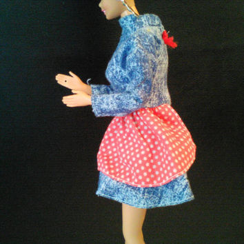 Vintage Barbie Doll Dress, 1980's Genuine Barbie Denim with Red Polka Dots and Bow, Velcro Enclosure, Long Sleeve Dress, Barbie Clothes