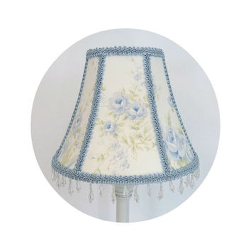 British Rose Blue Floral Shabby Chic fabric ~ Lamp Shade