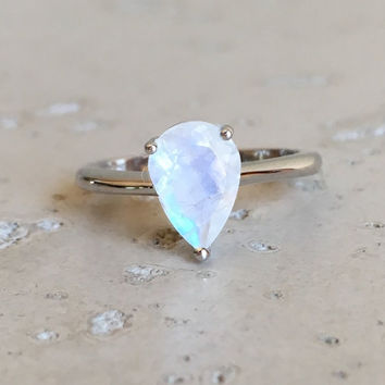 Small Rainbow Moonstone Ring- Moonstone Ring- Stackable Ring- Prong Ring- Sterling Silver Ring- June Birthstone Ring- Promise Ring for her