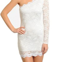 Ivory Lace Long Sleeve One Shoulder Bodycon Dress