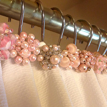 Shower curtain hooks, Petite, Pink, vintage, mid century, cluster earrings, bathroom decor, bathroom accessories, Set of 12 Shower Hooks