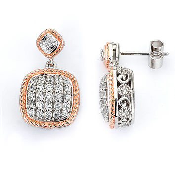 Cubic Zirconia Designer Cushion Shape Drop Earrings (14K Rose Gold) by CZ Sparkle Jewelry®